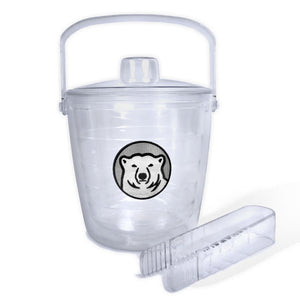 Clear plastic ice bucket with lid and tongs, Bowdoin polar bear medallion patch decoration.