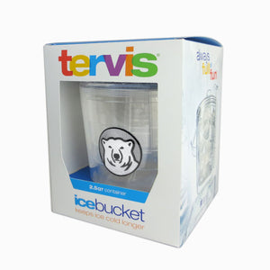 Boxed clear plastic ice bucket with lid and tongs, Bowdoin polar bear medallion patch decoration.