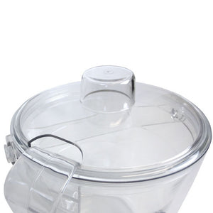 Closeup shot of ice bucket showing lid cutout for tongs storage.