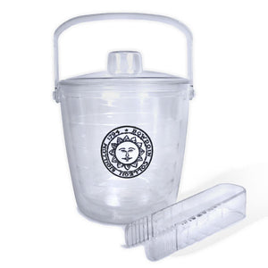 Clear plastic ice bucket with lid and tongs, Bowdoin sun seal patch decoration.