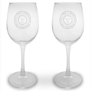 Set of 2 Engraved 12-ounce Wine Glasses