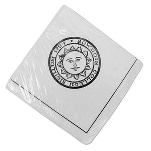 White cocktail napkins with black border and Bowdoin sun seal imprint.