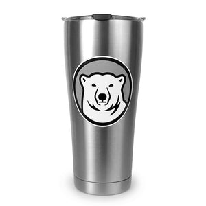 Stainless travel mug with mascot medallion imprint.
