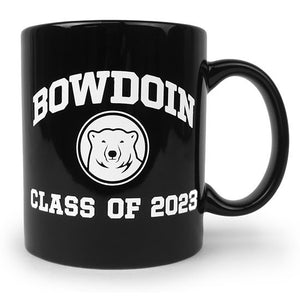 Black coffee mug with white imprint of Bowdoin arched over polar bear medallion over text CLASS OF 2023.