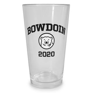 Clear pint glass with imprint of black arched BOWDOIN over mascot medallion over black 2020.