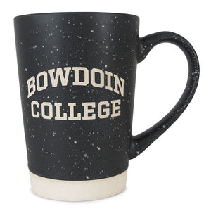 Tapered cylindrical coffee mug in dark grey with white speckles and ivory stone-look base. Etched BOWDOIN arched over COLLEGE shows the same ivory color as the base of the mug.