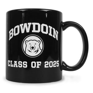 Black coffee mug with white imprint of BOWDOIN arched over mascot medallion over CLASS OF 2025.