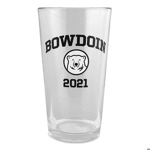 Clear pint mixer with BOWDOIN arched over mascot medallion over 2021 imprint.
