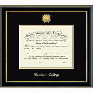 Diploma frame with glossy black moulding with gold fillet and black and gold matting. Gold sun seal medallion set into the mat on top of the diploma, BOWDOIN COLLEGE embossed in gold below.