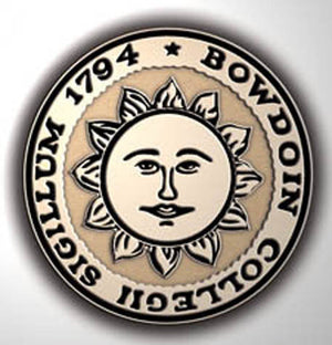 Closeup of Bowdoin sun seal medallion.