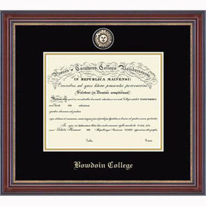 Diploma frame with gold inner edge, black and gold mat, and minted college seal medallion. BOWDOIN COLLEGE embossed at the bottom in Old English type.