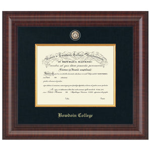 Diploma frame with black matting, gold fillet, Bowdoin seal medallion, and gold embossed BOWDOIN COLLEGE in Old English type.
