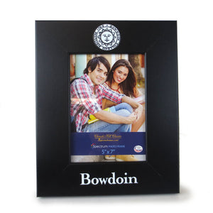 Black picture frame in vertical layout with Bowdoin seal imprint on top of frame, and BOWDOIN on the bottom of the frame.