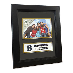 Black wood frame with black exterior mat, two cutouts showing a border of inner gold mat. The top cutout holds a photo, the bottom encases a white rectangle with a large B on the left, and the words BOWDOIN COLLEGE stacked beside it.