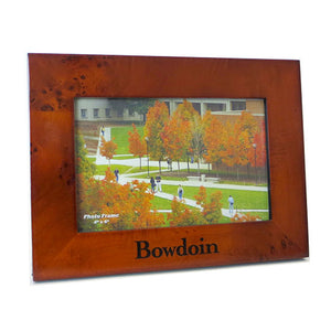 Reddish brown burlwood photo frame with BOWDOIN wordmark in black on bottom edge. Landscape orientation.