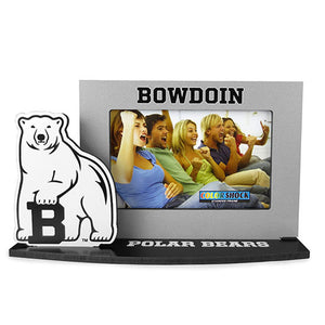 Freestanding photo frame with black base reading POLAR BEARS, grey frame with BOWDOIN across the top, and a cutout of the Bowdoin mascot on the right side of the frame.