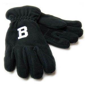 Black fleece gloves with embroidered B patch in white on back of hand.