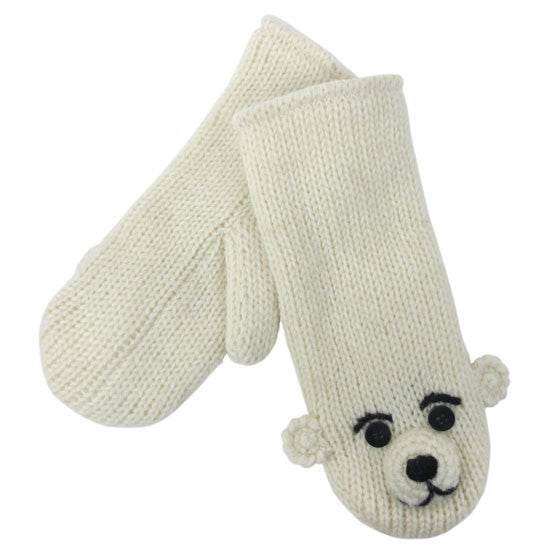 Pee Wee the Polar Bear Mittens from Knitwits