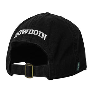Back view of black baseball cap showing adjustable closure with brass buckle and white BOWDOIN embroidery over opening.
