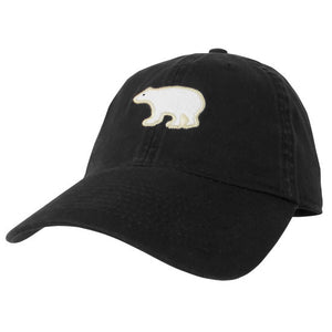 Black twill baseball hat with embroidered felt polar bear patch on the front.