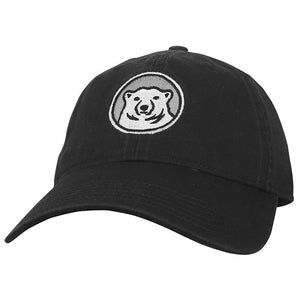 Relaxed twill baseball hat with embroidered Bowdoin polar bear mascot medallion in black.
