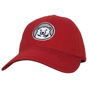 Relaxed twill baseball hat with embroidered Bowdoin polar bear mascot medallion in red.
