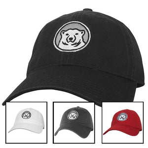 Picture of 4 different hats with Bowdoin polar bear medallion: black, white, gray, and red.