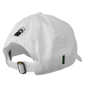 Back view of white ball cap showing brass buckle on self-closure and black embroidered paw print over opening.