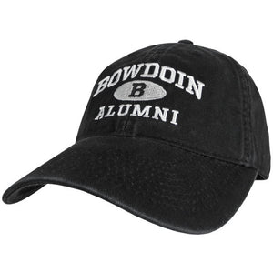 Black baseball hat with white embroidery of BOWDOIN arched over the black letter B in a white oval over the white word ALUMNI.
