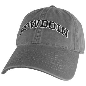 Dark gray baseball cap with embroidered arched BOWDOIN in black with a white stroke outline.