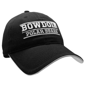 Black ball cap with white embroidery. Line over raised BOWDOIN, then a line under, then POLAR BEARS, then a third line. White under-bill.