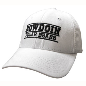 White ball cap with black embroidery. Line over raised BOWDOIN, then a line under, then POLAR BEARS, then a third line.