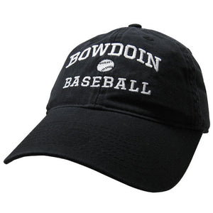 Black twill baseball cap with white embroidery of BOWDOIN arched over a baseball over the word BASEBALL.