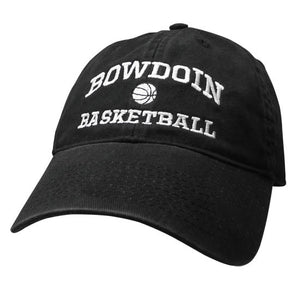 Black twill baseball cap with white embroidery of BOWDOIN arched over a basketball over the word BASKETBALL.