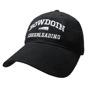 Black twill baseball cap with white embroidery of BOWDOIN arched over a megaphone over the word CHEERLEADING.