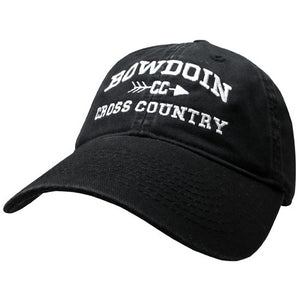 Black twill baseball cap with white embroidery of BOWDOIN arched over the letters CC pierced with an arrow over the words CROSS COUNTRY.
