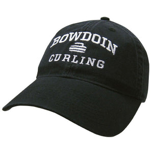 Black twill baseball cap with white embroidery of BOWDOIN arched over a curling stone over the word CURLING.