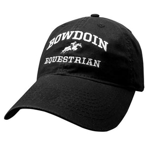 Black twill baseball cap with white embroidery of BOWDOIN arched over an icon of a jockey on a leaping horse over the word EQUESTRIAN.