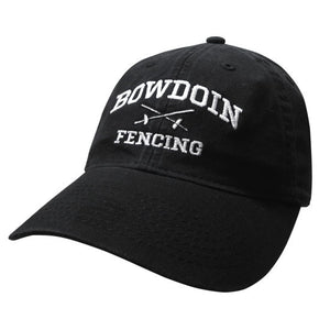 Black twill baseball cap with white embroidery of BOWDOIN arched over crossed fencing foils over the word FENCING.