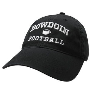 Black twill baseball cap with white embroidery of BOWDOIN arched over a football over the word FOOTBALL.
