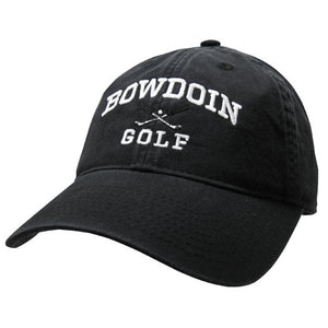 Black twill baseball cap with white embroidery of BOWDOIN arched over crossed golf clubs over the word GOLF.