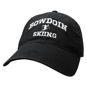 Black twill baseball cap with white embroidery of BOWDOIN arched over an icon of a jumping skiier over the word SKIING.