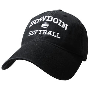 Black twill baseball cap with white embroidery of BOWDOIN arched over a softball over the word SOFTBALL.