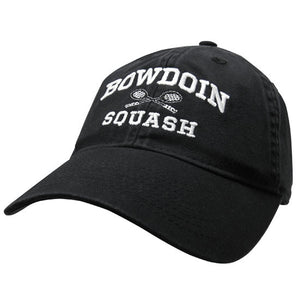 Black twill baseball cap with white embroidery of BOWDOIN arched over crossed squash racquets over the word SQUASH.
