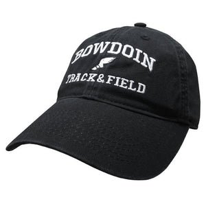 Black twill baseball cap with white embroidery of BOWDOIN arched over an icon of a winged foot over the words TRACK & FIELD.