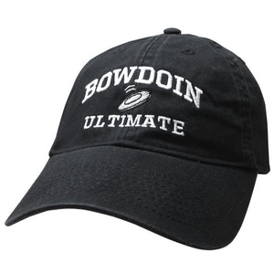 Black twill baseball cap with white embroidery of BOWDOIN arched over a flying disc over the word ULTIMATE.