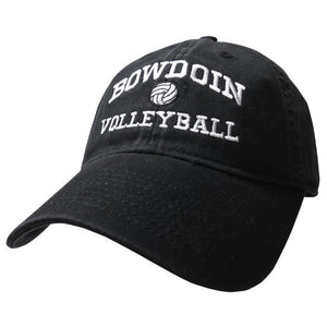 Black twill baseball cap with white embroidery of BOWDOIN arched over a volleyball over the word VOLLEYBALL.