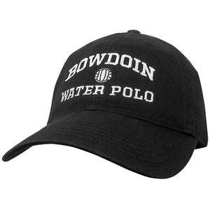 Black twill baseball cap with white embroidery of BOWDOIN arched over a water polo ball over the words WATER POLO.