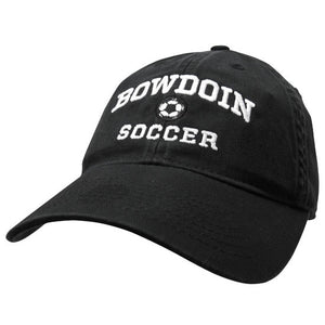 Black twill baseball cap with white embroidery of BOWDOIN arched over a soccer ball over the word SOCCER.
