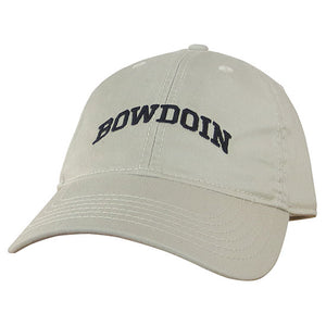 Stone beige twill baseball cap with the word BOWDOIN embroidered in black on the front in an arch.
